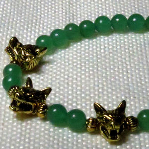 Jewelry - Cerberus Wolf & Green Aventurine Gemstone Bracelet